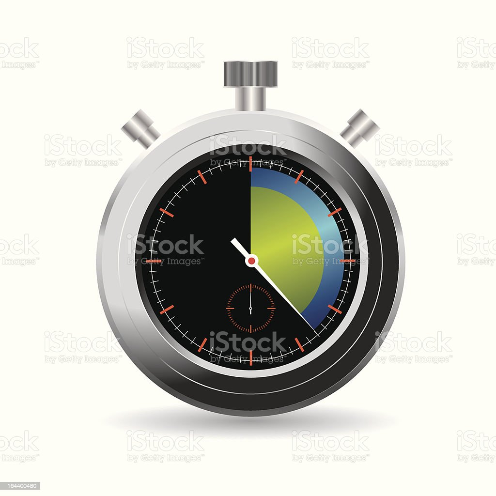 Illustrated silver stopwatch isolated on white background royalty-free stock vector art