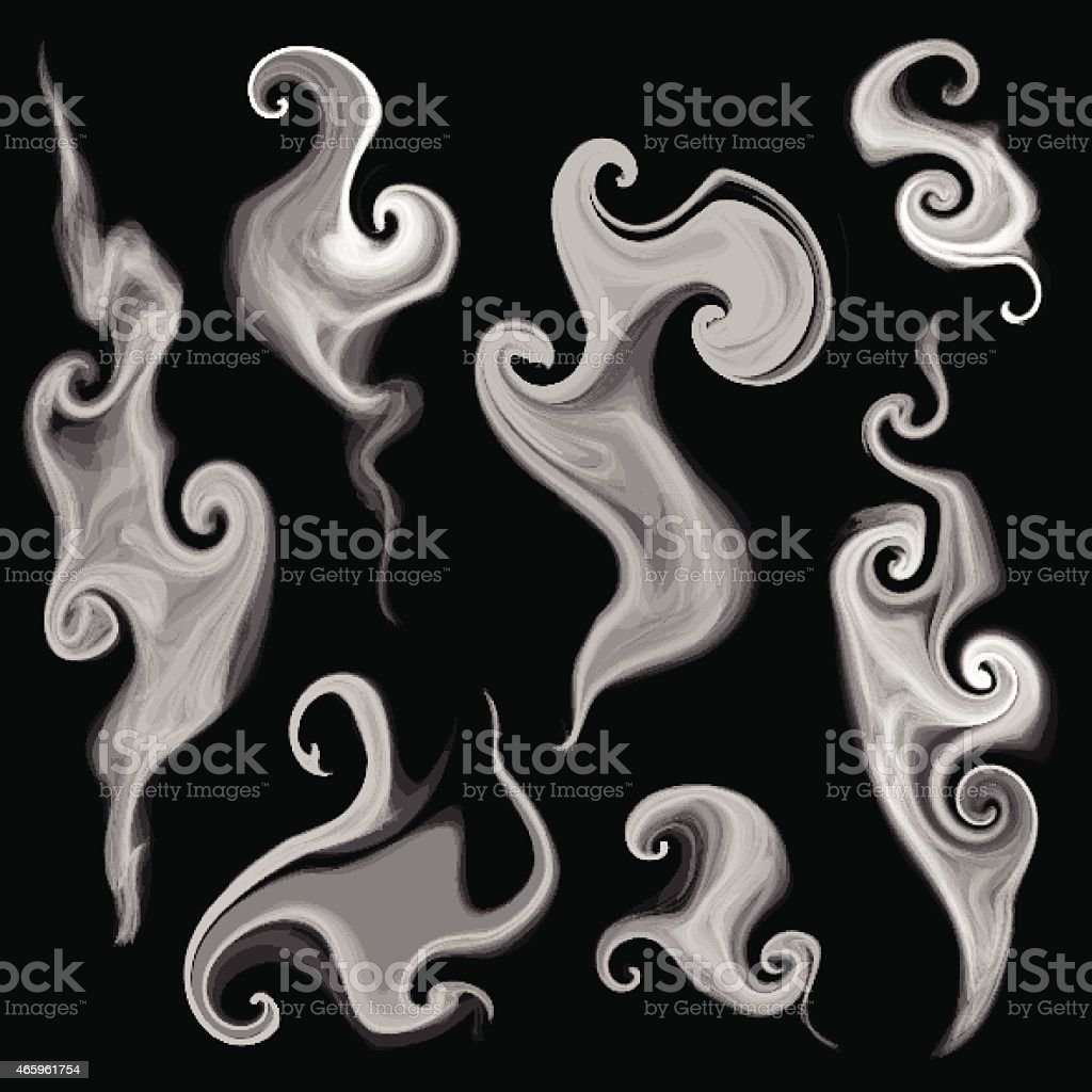 Illustrated smoke set against black background vector art illustration