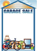 Illustrated template frame for a garage sale
