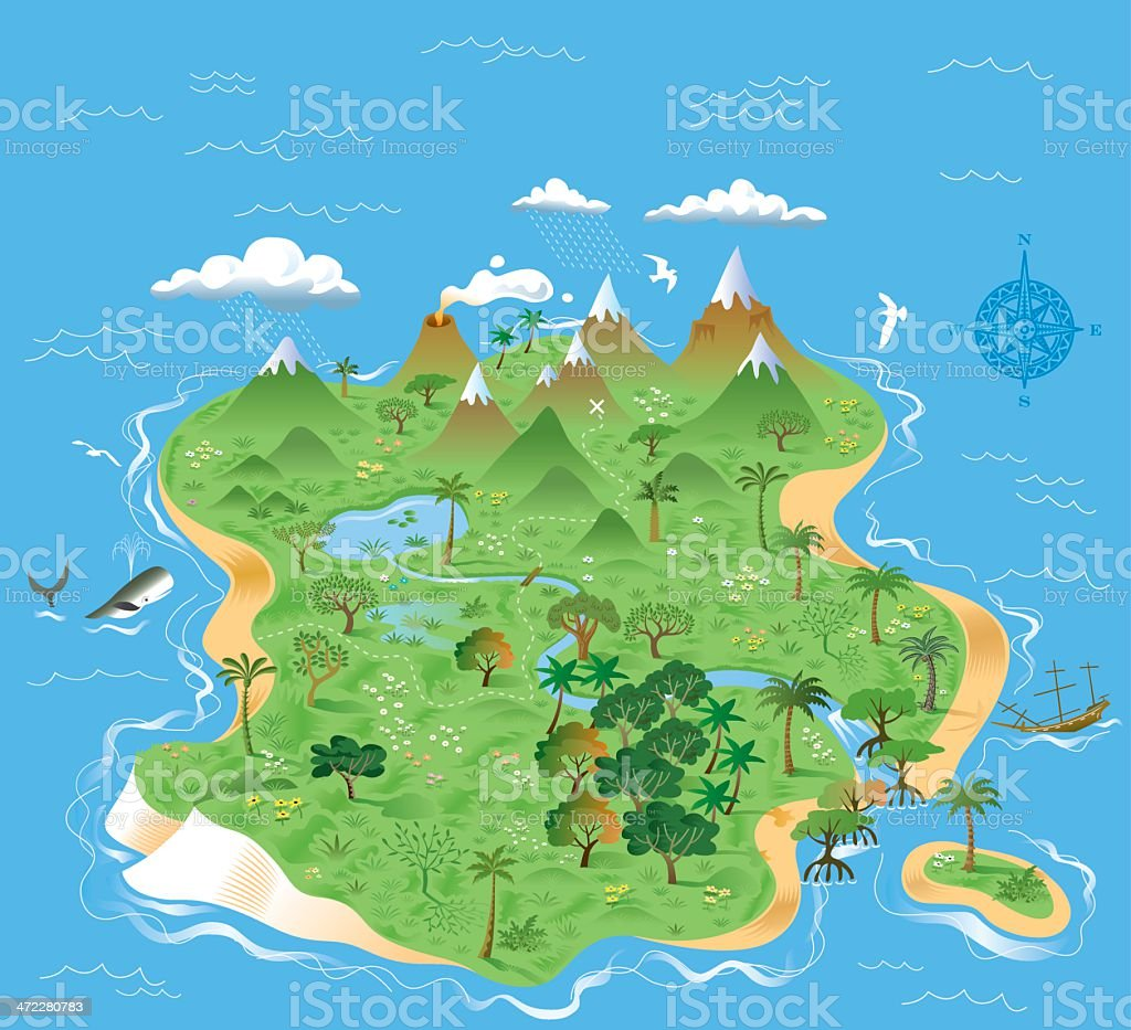 Illustrated treasure island vector art illustration