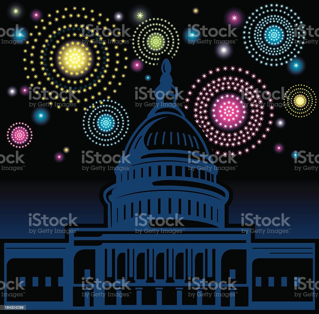 Illustrated U.S. Capitol Building with fireworks royalty-free stock vector art