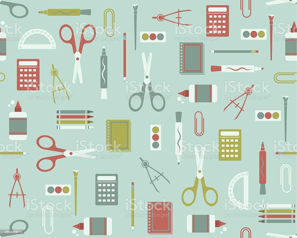Illustrated vector school supplies pattern vector art illustration