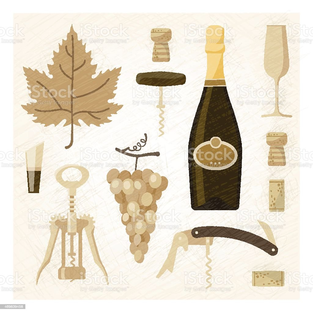 Illustrated wine related elements vector art illustration