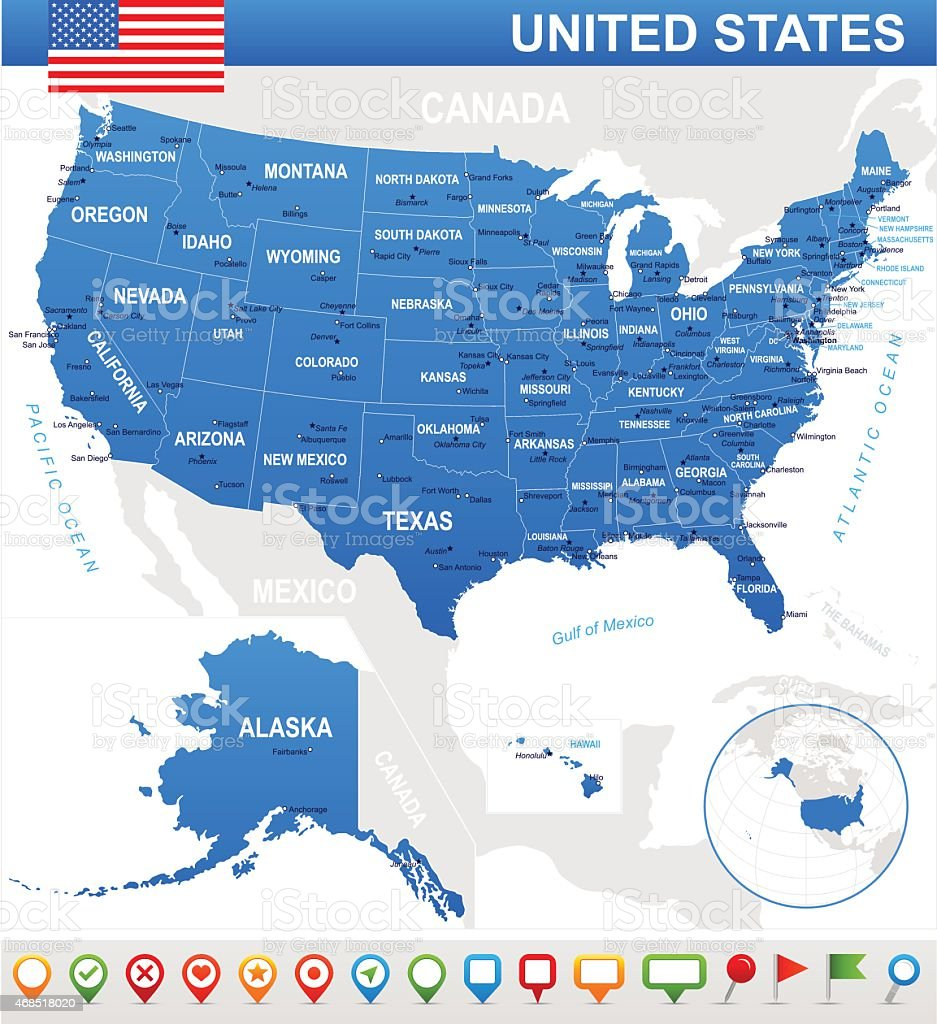 Illustrating the map, flag, and navigation icons of the USA vector art illustration