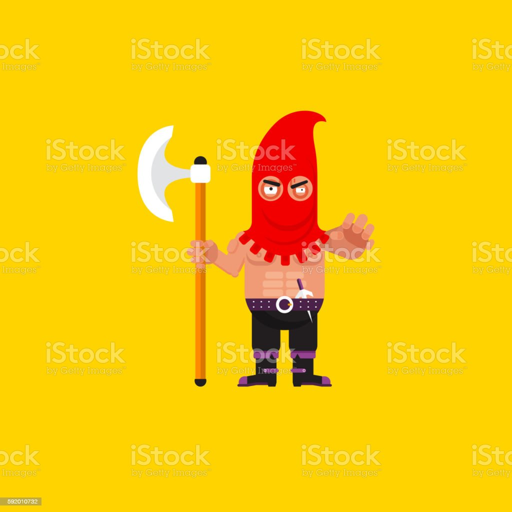 illustration a executioner character for halloween in  flat style vector art illustration