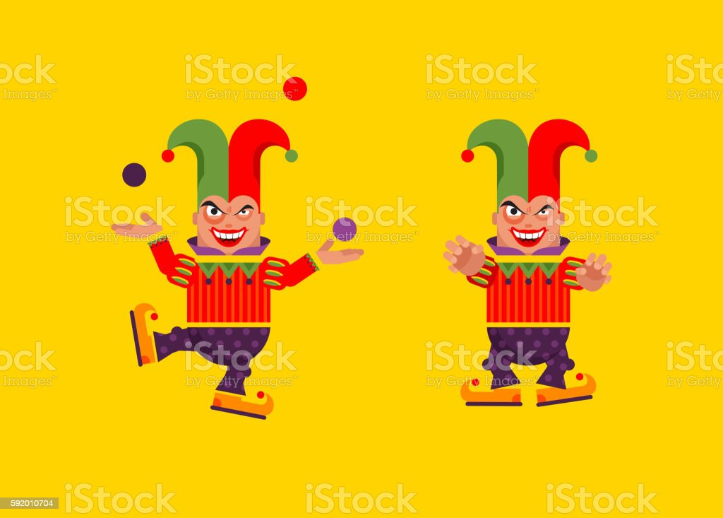 illustration a jester character for halloween in  flat style vector art illustration