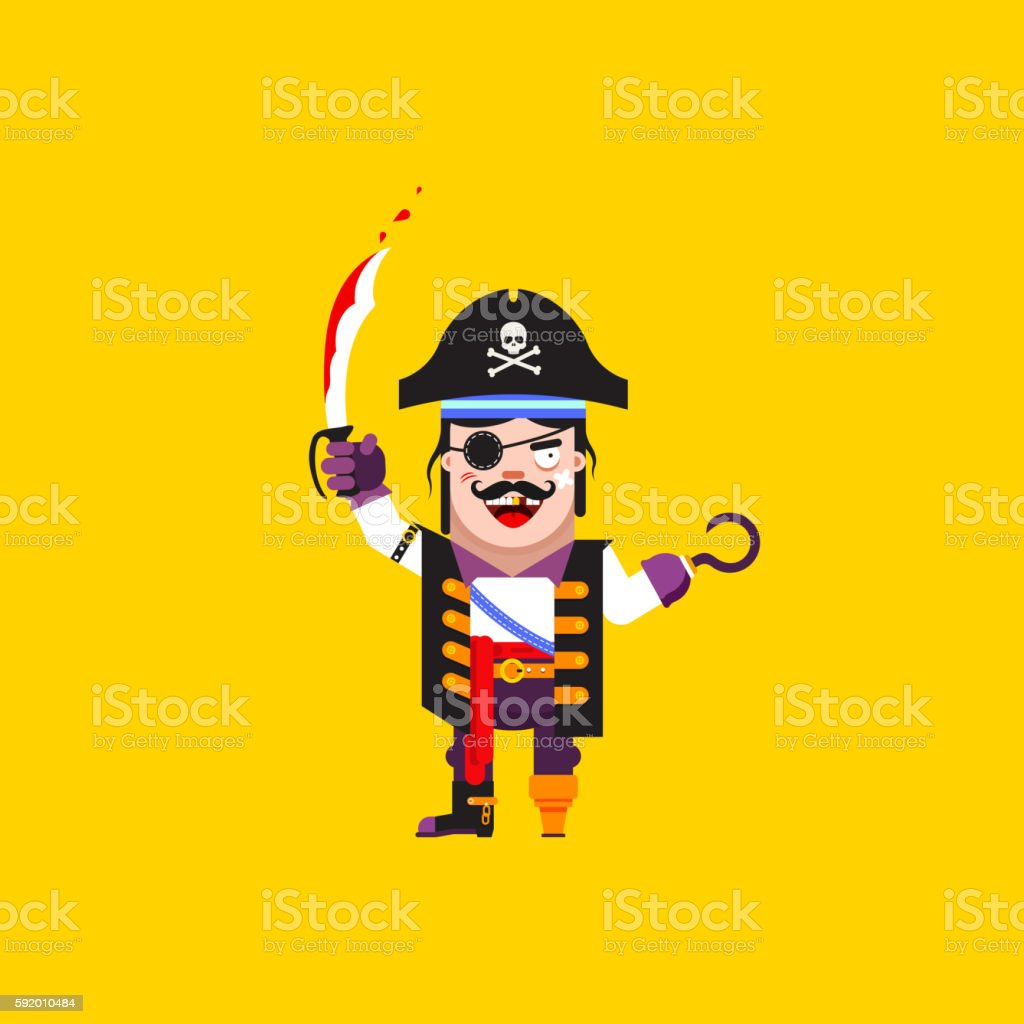 illustration a pirate character for halloween in  flat style vector art illustration