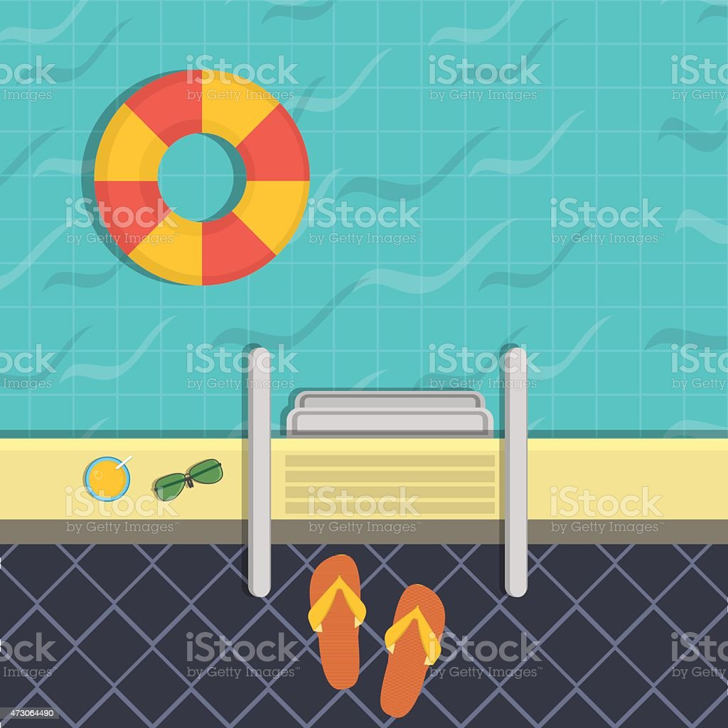 illustration - a swimming pool, a top view. vector art illustration