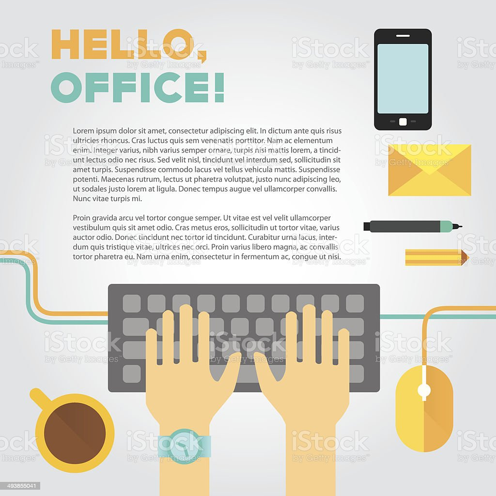 Illustration about office or coworking life with typing hands and vector art illustration