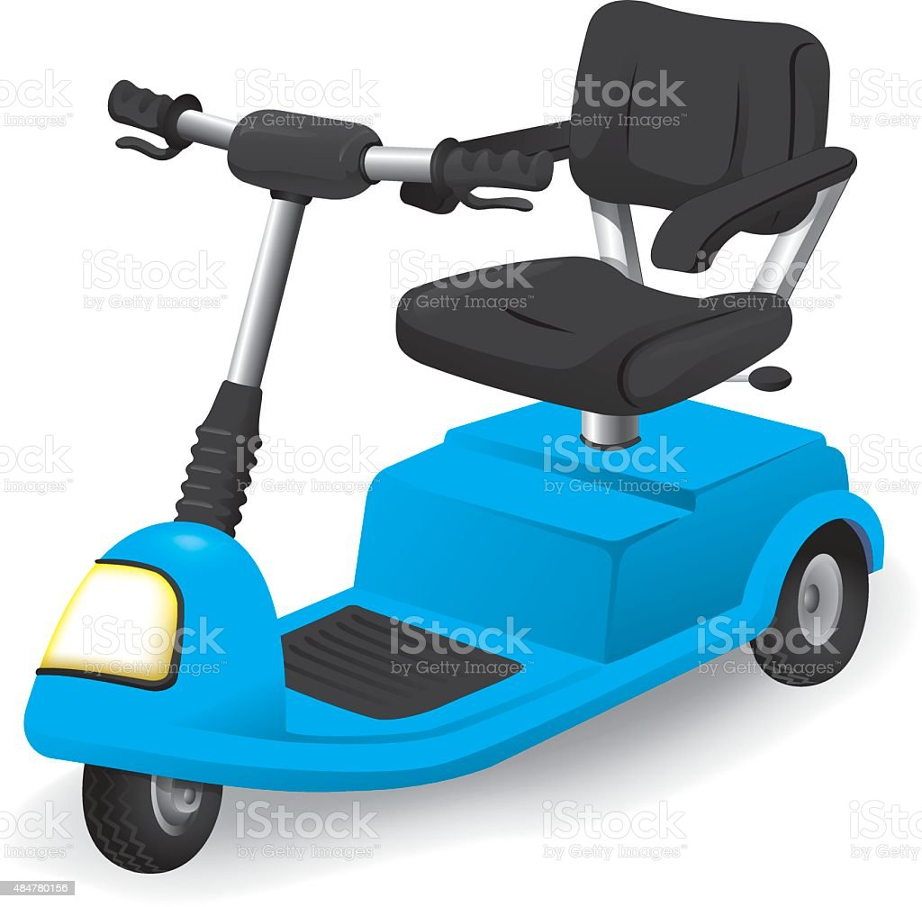 Illustration accessory wheelchair object, electric or motorized vector art illustration