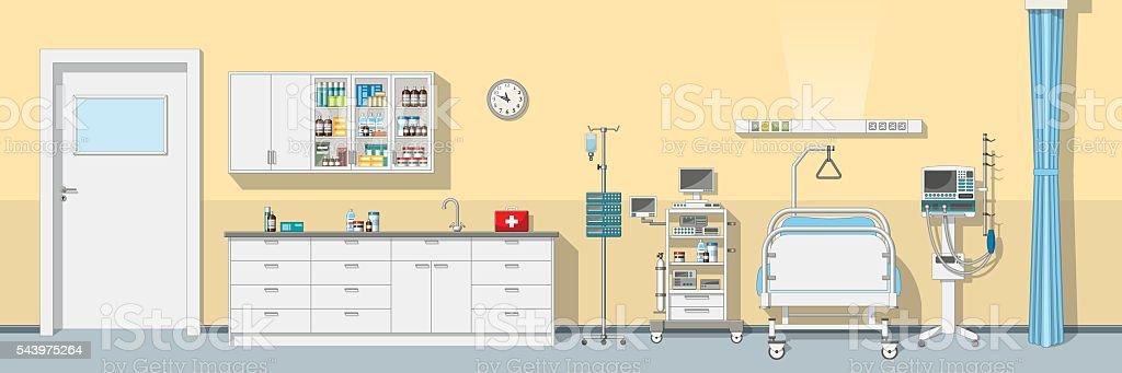 Illustration an intensive care unit, panorama vector art illustration