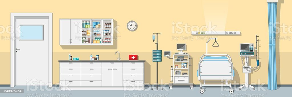 Illustration an intensive care unit, panorama vector art illustration
