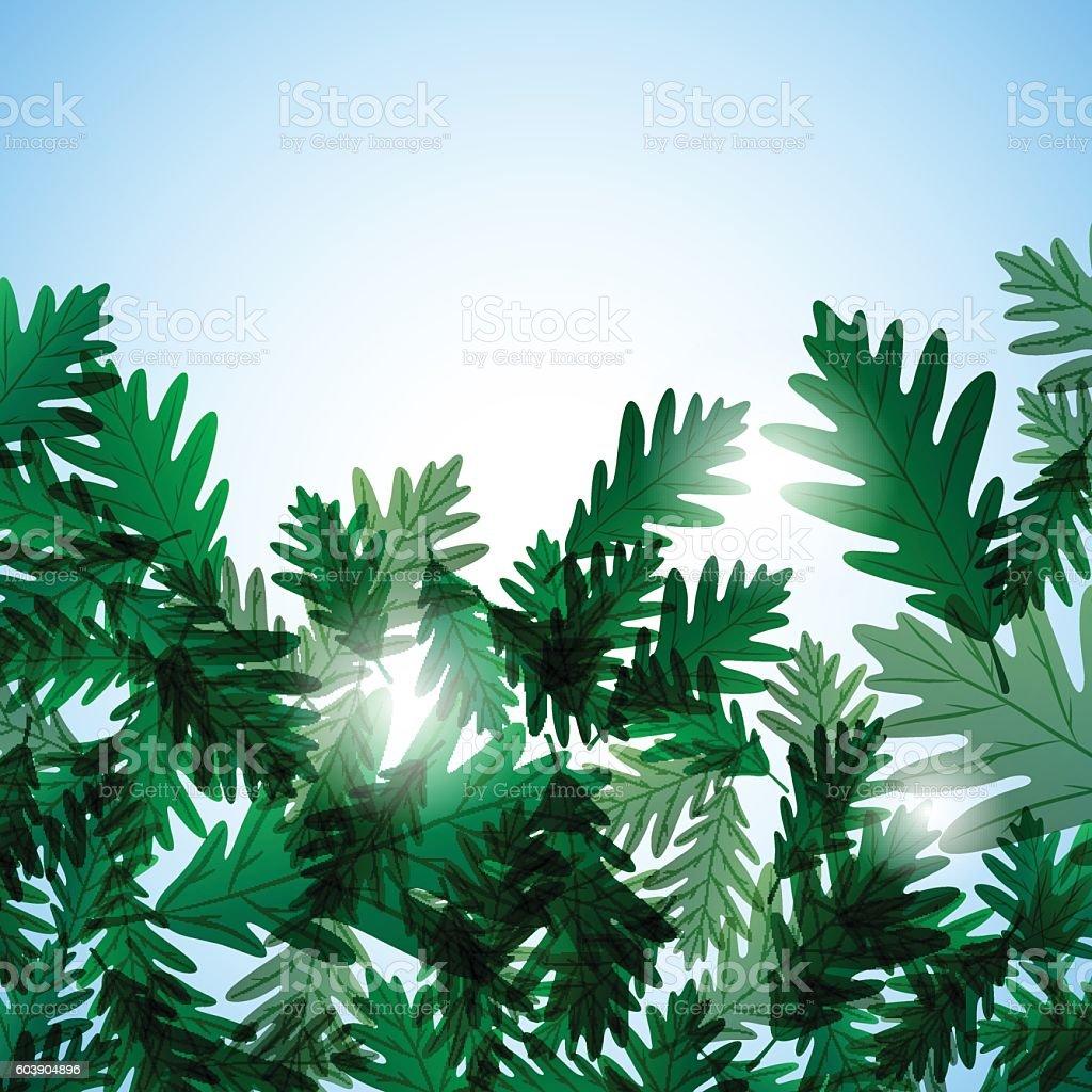 Illustration autumn motif. Oak leaves. Vector background vector art illustration