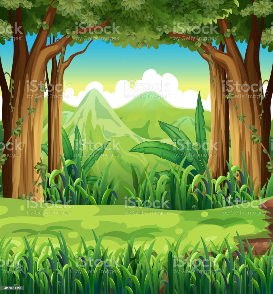 Illustration background of a green forest scene royalty-free stock vector art