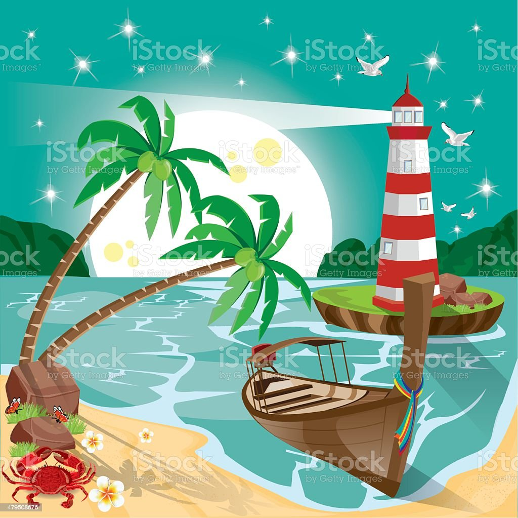 Illustration. beach with the star and moon. vector art illustration