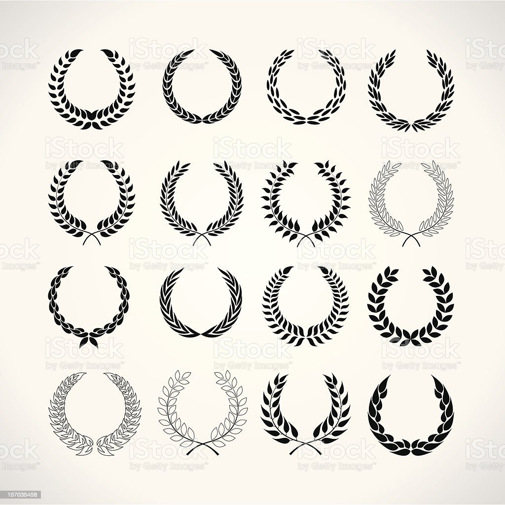 Illustration black laurel wreaths against white background vector art illustration
