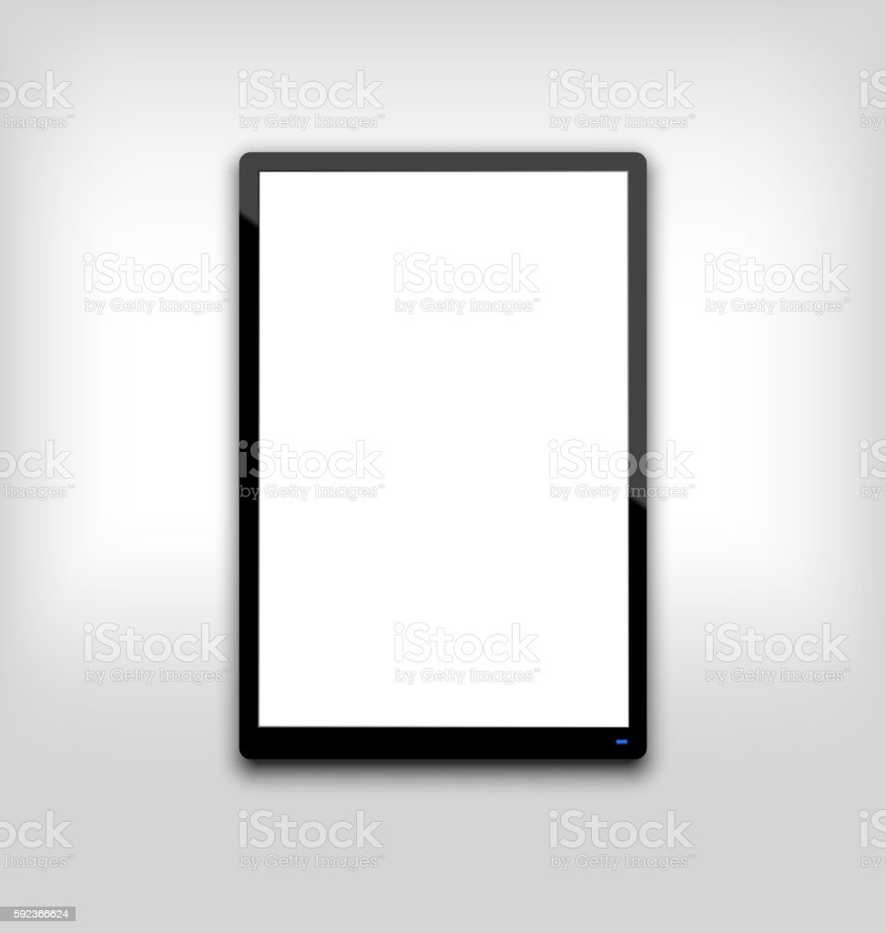 Illustration  black tablet pc computer blank white screen with l vector art illustration