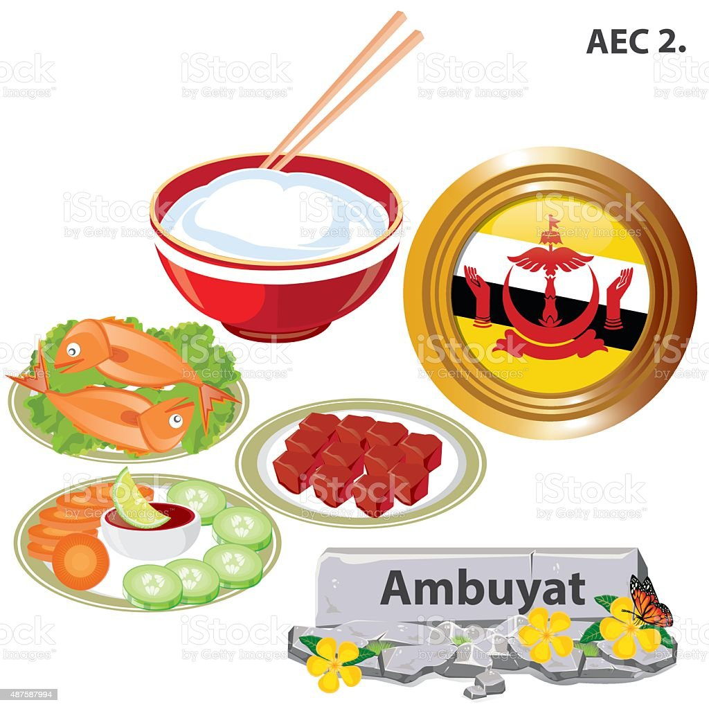 illustration. Brunei national dishes. Ambuyat on white background. vector art illustration