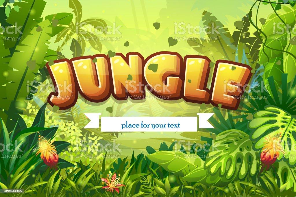 Illustration cartoon jungle with inscription and ribbon vector art illustration