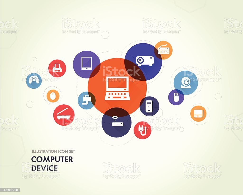 illustration computers device icons vector art illustration