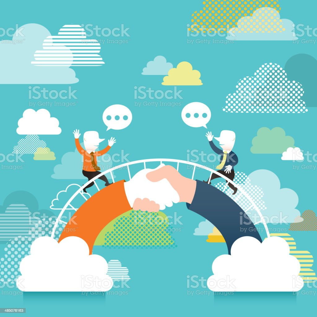 illustration concept of communication bridge vector art illustration