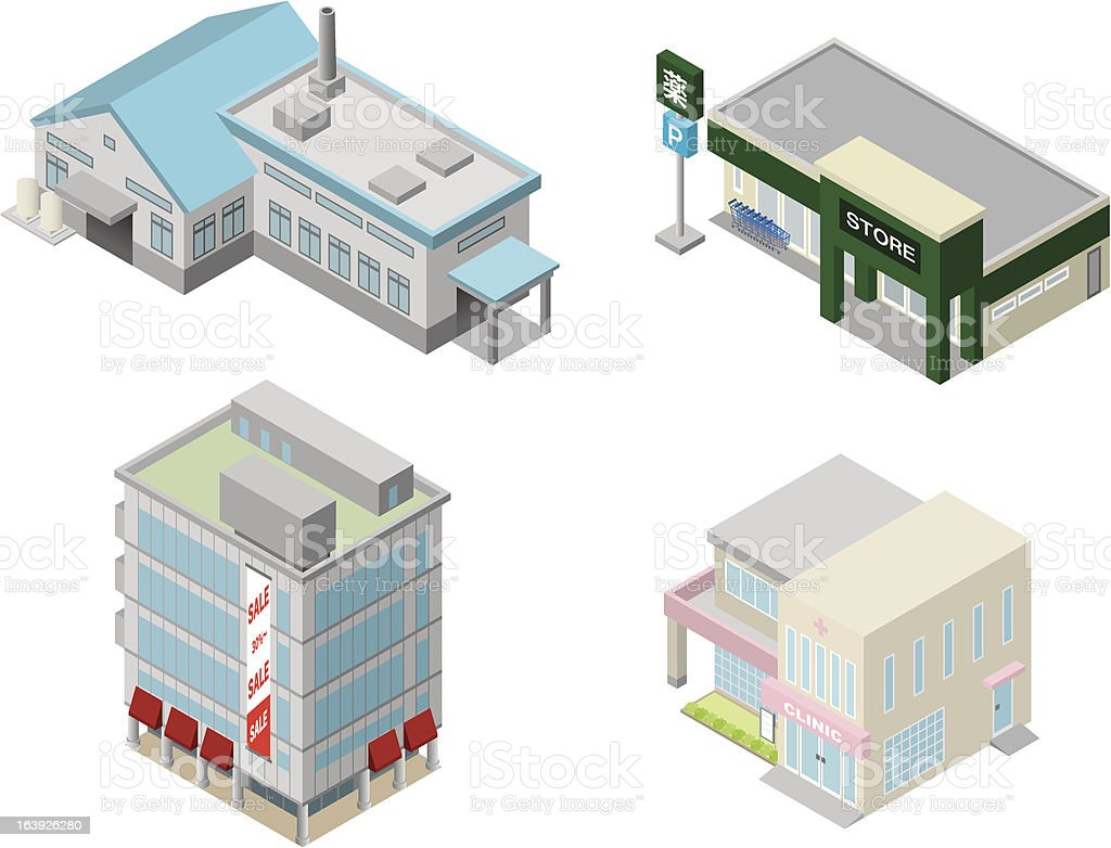 Illustration concept of four different styles of buildings royalty-free stock vector art