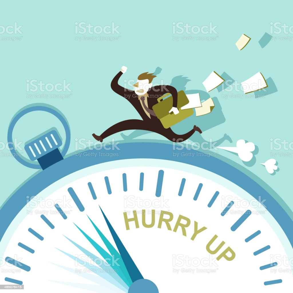 illustration concept of hurry up vector art illustration