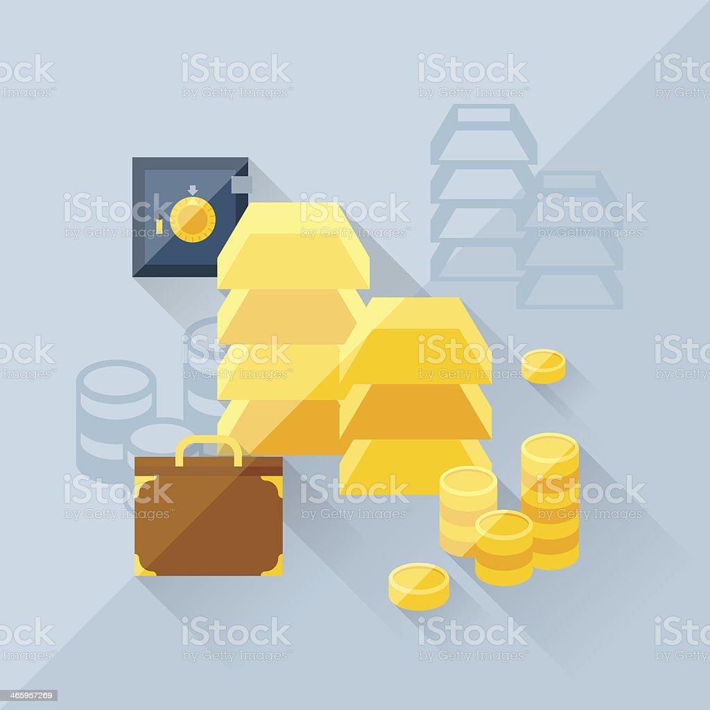 Illustration concept of precious metals in flat design style. vector art illustration
