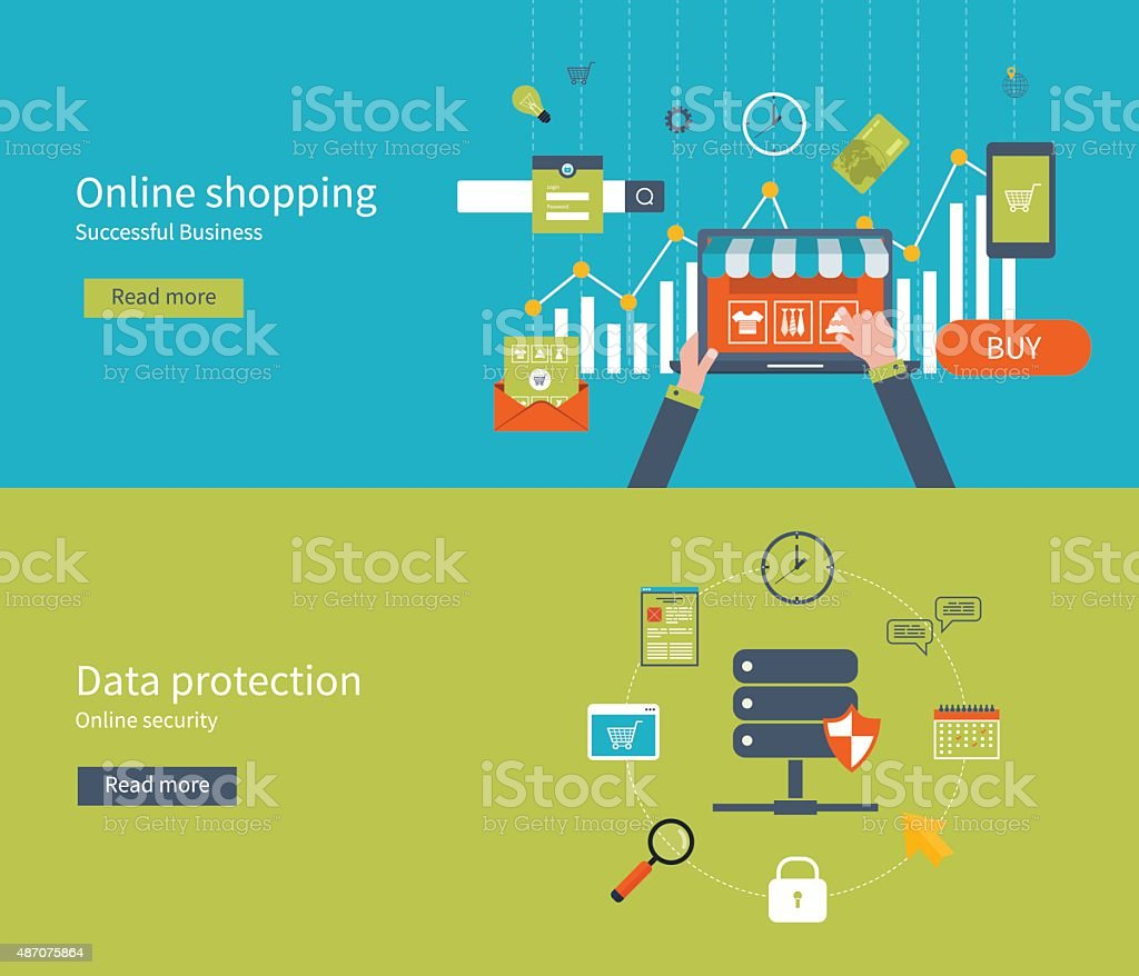 Illustration concepts for data protection, internet security, online shopping vector art illustration