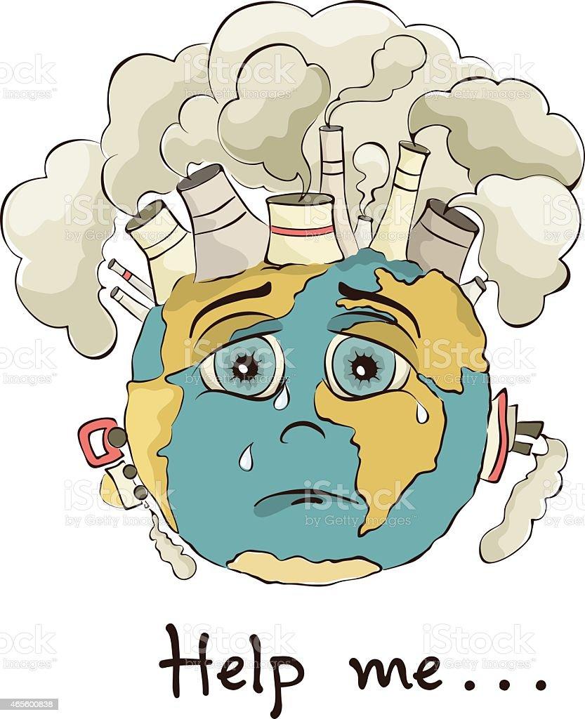 Illustration - crying Earth vector art illustration