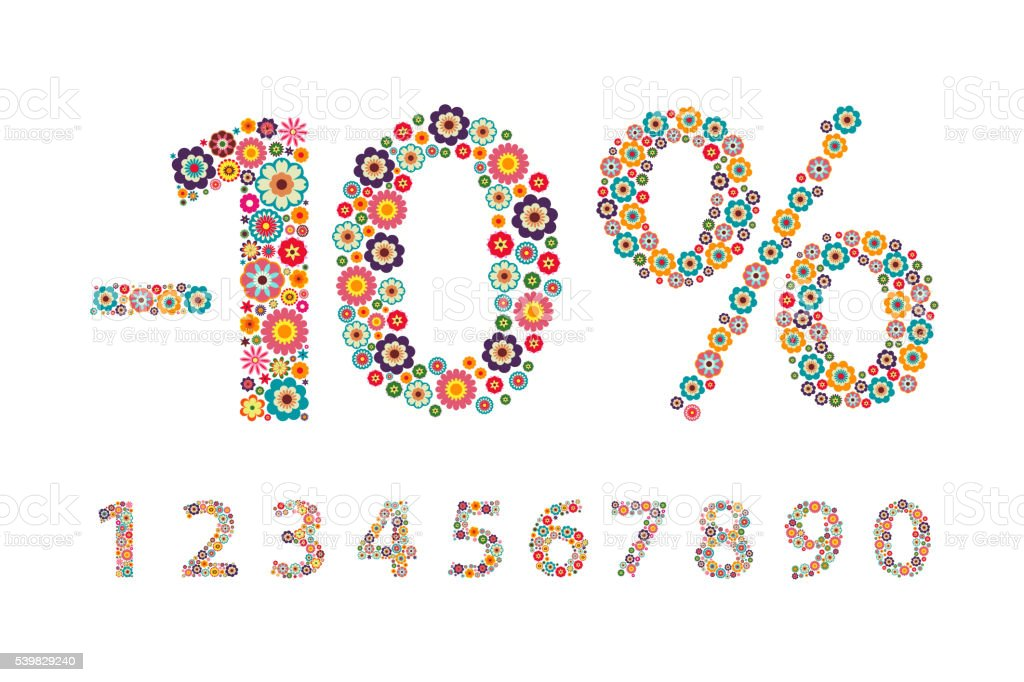 illustration Decorative figure with flowers, interest, percentage, number vector art illustration