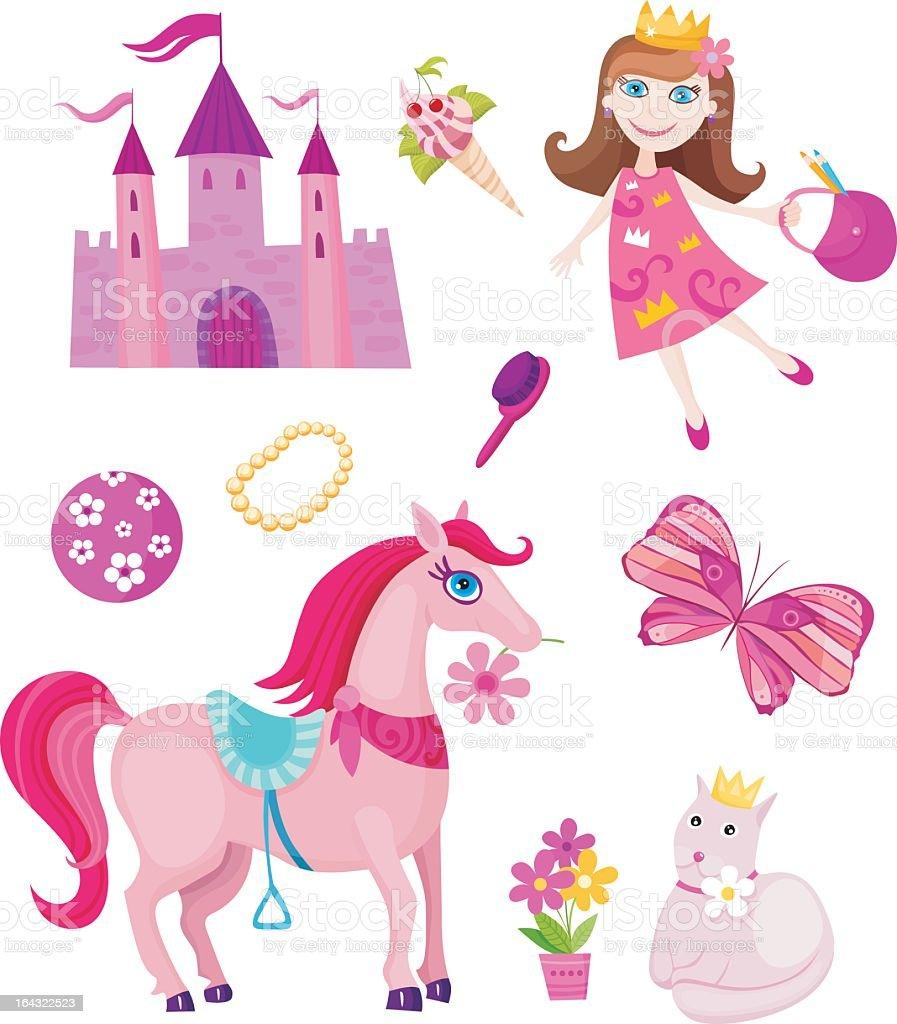 Illustration depicting princess fairytale elements royalty-free stock vector art