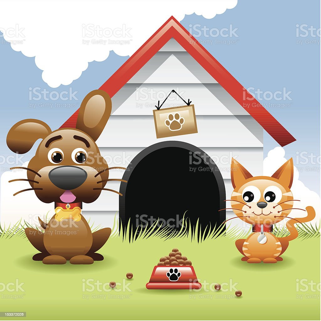 Illustration, Dog and Cat royalty-free stock vector art
