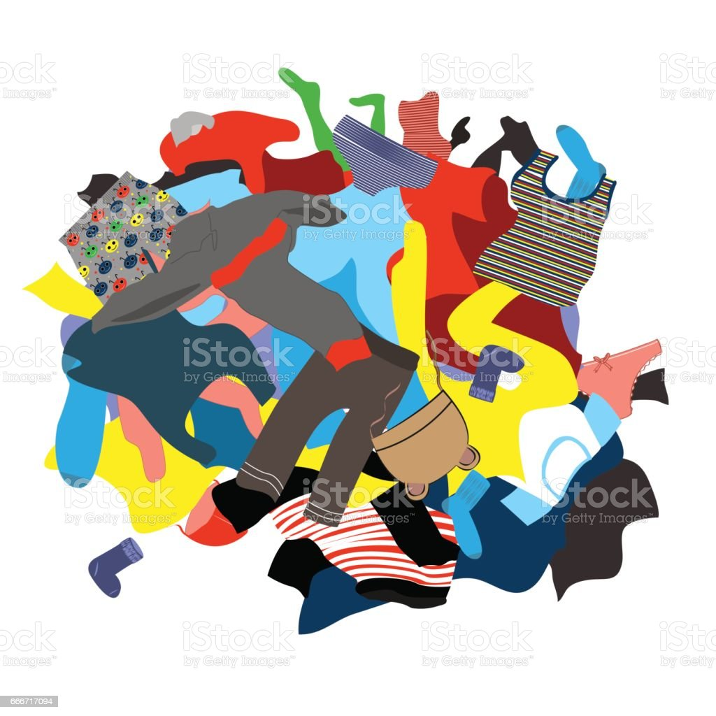 Illustration Featuring a Messy Pile of Dirty Laundry vector art illustration