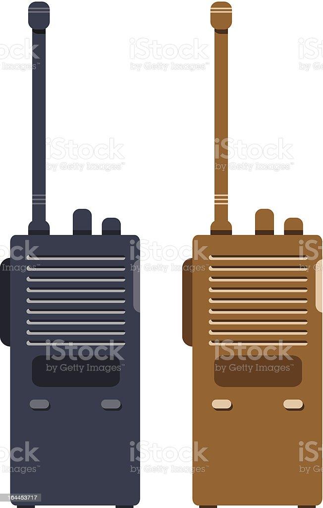 2D illustration for black and brown walkie talkie vector art illustration