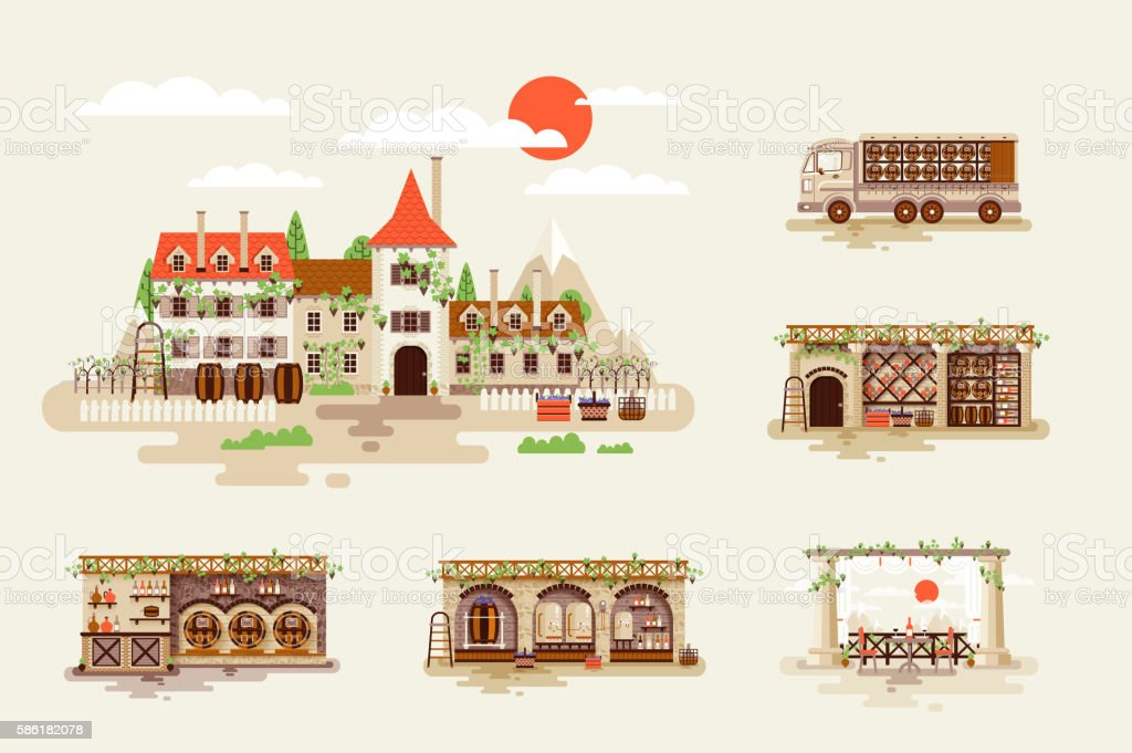 Illustration for wine business, facade and interior of winery with vector art illustration