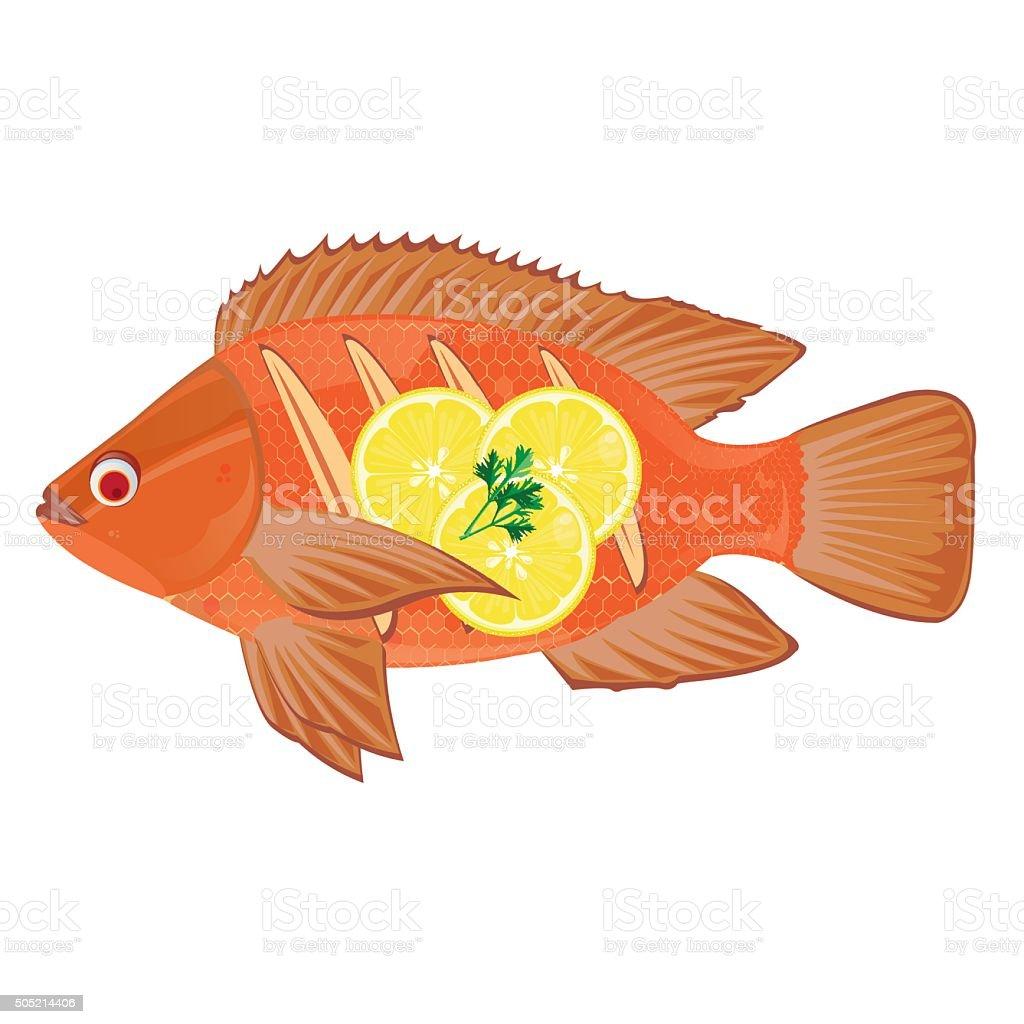 illustration. Fried Fish on a white background. vector art illustration