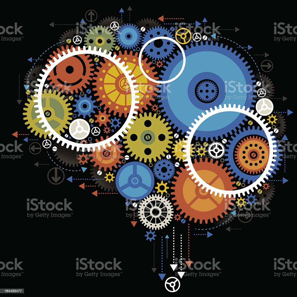 Illustration graphic design brain gears at work royalty-free stock vector art