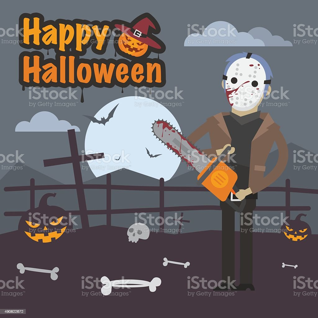 Illustration Halloween maniac killer holding chainsaw vector art illustration