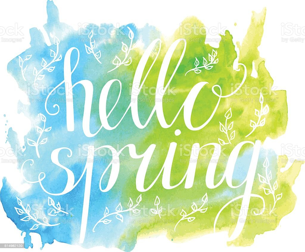 Illustration Hello spring with white words on bright watercolor background vector art illustration
