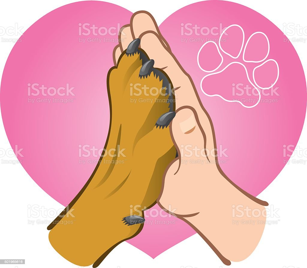 Illustration human hand holding a paw, heart, caucasian vector art illustration