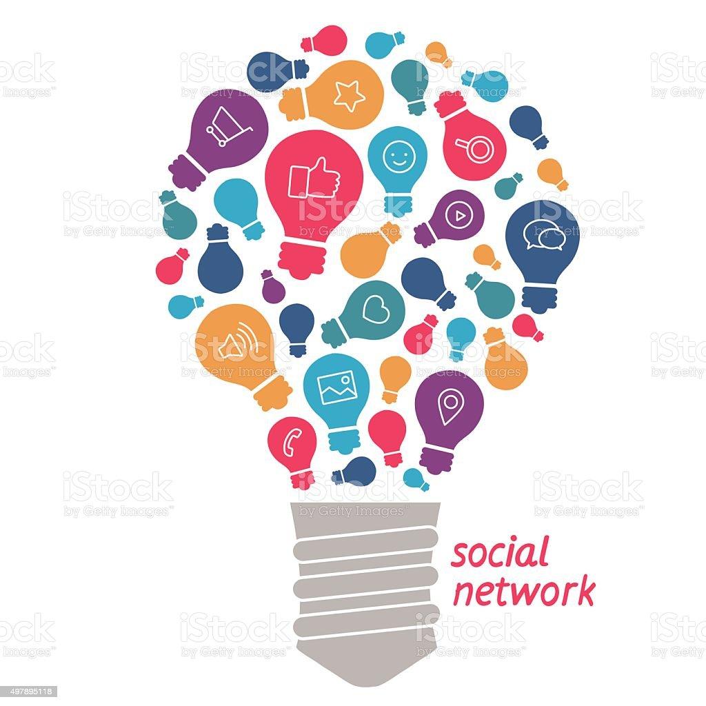 Illustration des idées dans le domaine des réseaux sociaux stock vecteur libres de droits libre de droits