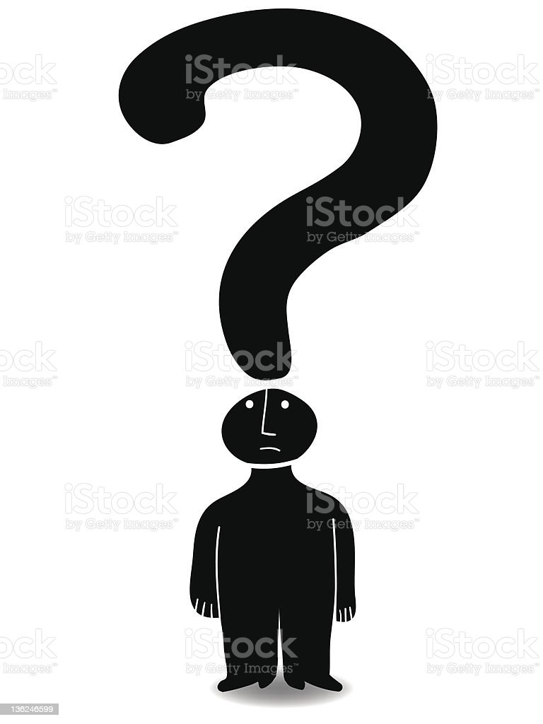 Illustration if man with question mark royalty-free stock vector art