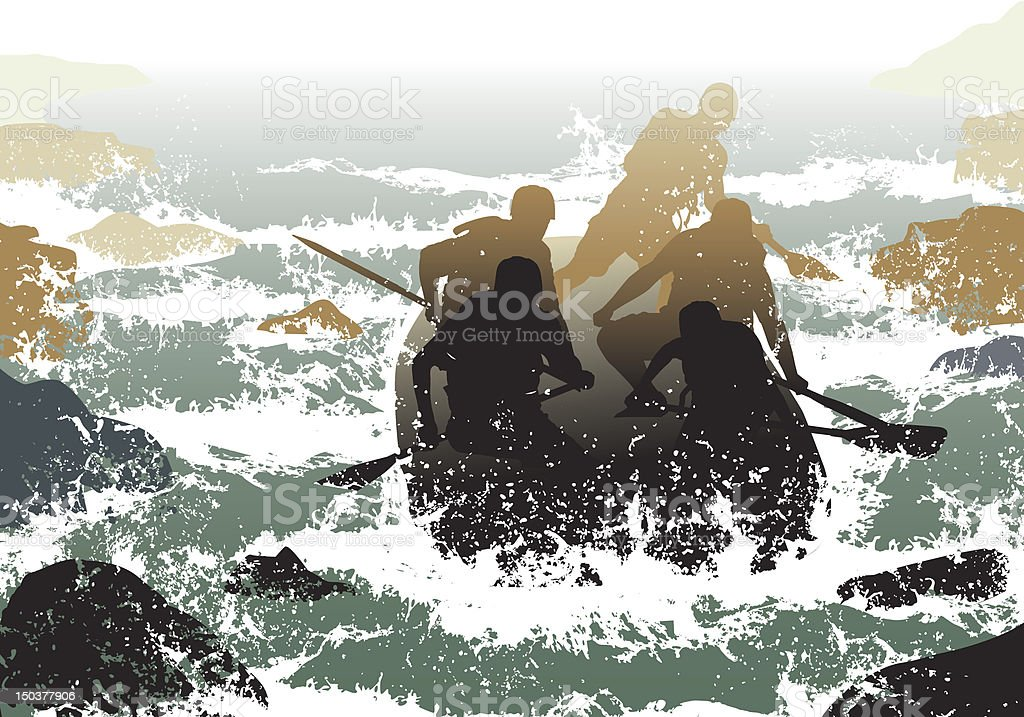 Illustration in muted colors of people whitewater rafting vector art illustration