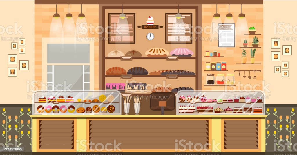 illustration interior of bake shop, sale, business baking sales, bakery vector art illustration