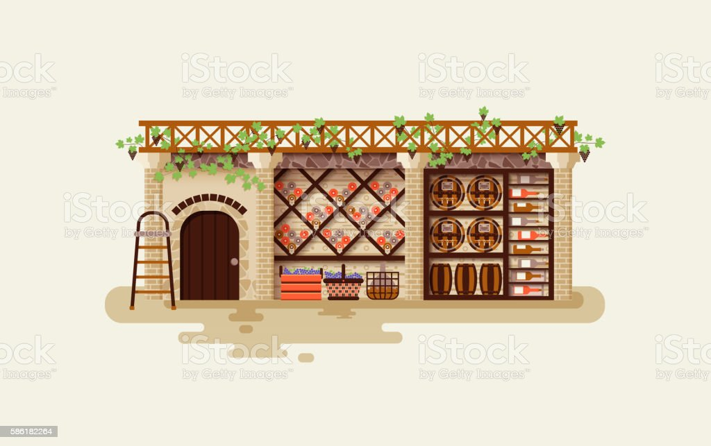 illustration Interior of wine cellar for storing and aging whiskey vector art illustration