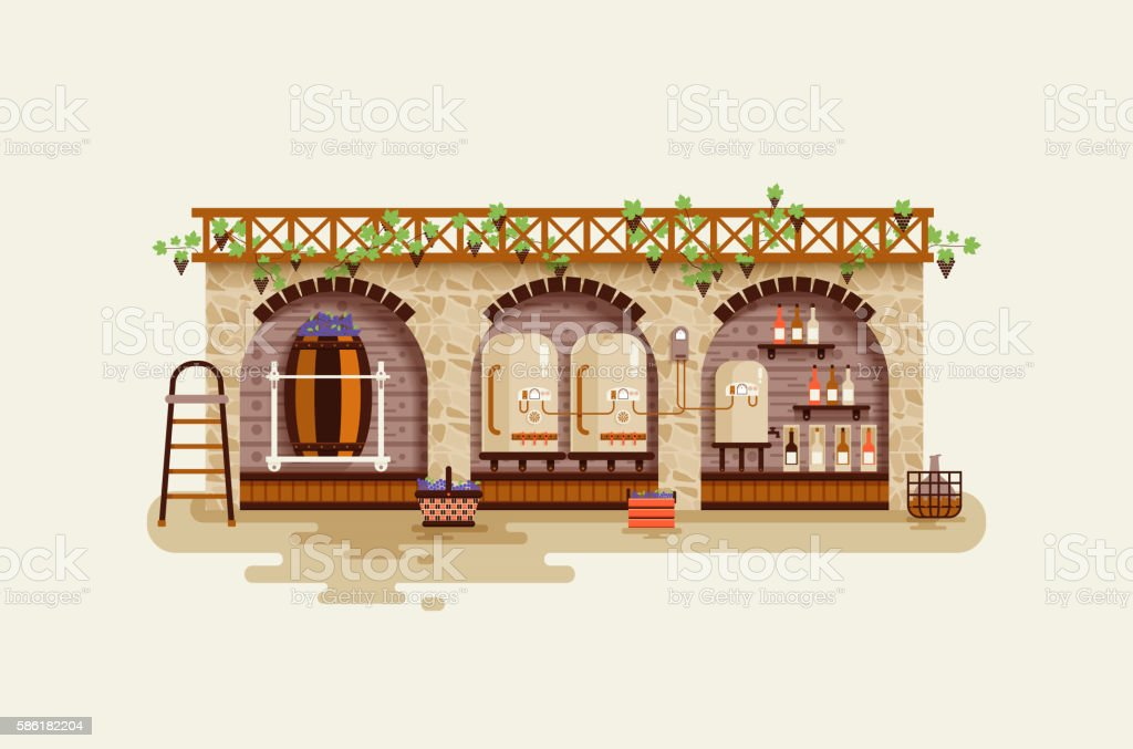 illustration interior of wine factory, processing  grapes for manufacture  alcoholic vector art illustration