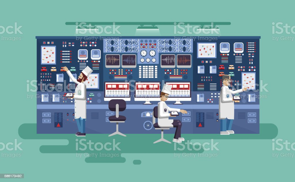 illustration interior science base, nuclear power plant in flat style vector art illustration