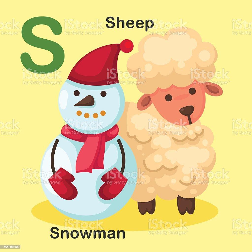 Illustration Isolated Animal Alphabet Letter S-Snowman,Sheep vector art illustration