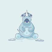 Illustration isolated emoji character cartoon rhinoceros crying, lot of tears